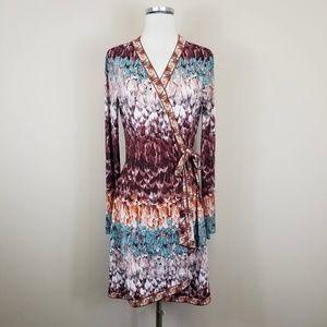 BCBG Max Azria Adele Wrap Dress Feather Print